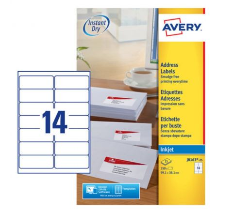 ADDRESS LABELS FOR INKJET PRINTERS J8163-25, 99.1 X 38.1MM LABELS, WHITE, 14 LABELS PER SHEET, 25 SHEETS IN A PACK
