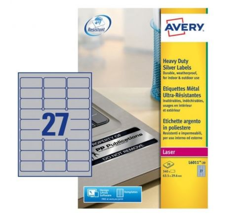 SILVER HEAVYDUTY LABELS L6011-20, 63.5 X 29.6 MM, 27 LABELS IN A SHEET, 20 SHEETS PER PACK, FOR  B/W LASER PRINTER