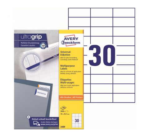 AVERY MULTIPURPOSE LABELS 3489, 70 X 29.7 MM, WHITE COLOR, 30 LABELS PER SHEET, 100 SHEETS IN A PACK, FOR ALL PRINTERS