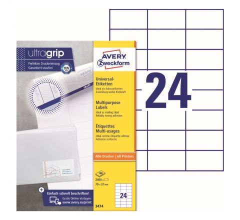 AVERY MULTIPURPOSE LABELS 3474, 70 X 37 MM LABELS, 24 LABELS PER SHEET, 100 SHEETS IN A PACK, FOR ALL PRINTERS