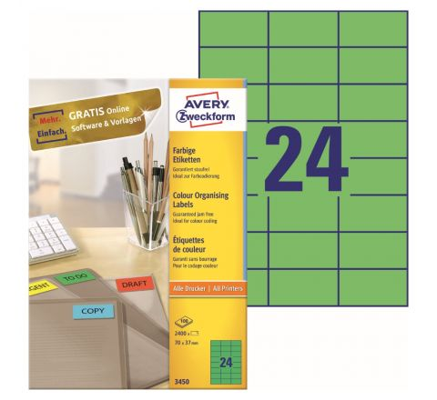 AVERY MULTIPURPOSE LABELS 3450, 70 X 37 MM, GREEN COLOR, 24 LABELS PER SHEET, 100 SHEETS IN A PACK, FOR ALL PRINTERS