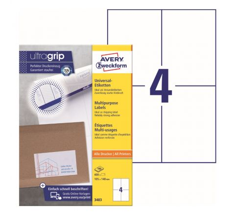 AVERY MULTIPURPOSE LABELS 3483, 105 X 148 MM, 4 LABELS PER SHEET, 100 SHEETS IN A PACK, FOR ALL PRINTERS
