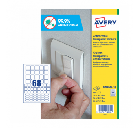 AVERY ANTIMICROBIAL SQUARE PRE-CUT LABELS, 68LABESL PER SHEET, 10 SHEETS IN A PACK (AM00SA4-10)