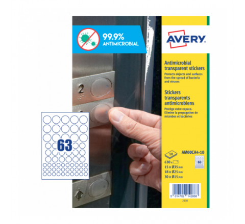 AVERY ANTIMICROBIAL ROUND PRE-CUT LABELS, 63LABELS PER SHEET, 10 SHEETS PER PACK (AM00CA4-10)