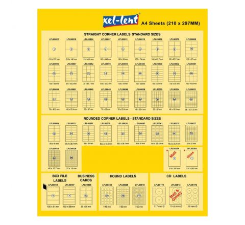 XEL-LENT LABEL 70X25.4MM 33 LABELS PER SHEETS 100 SHEETS PER PACK
