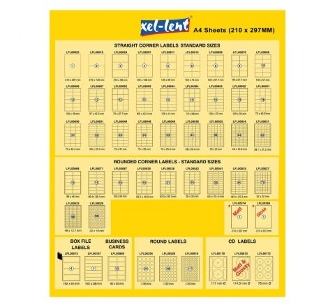 XEL-LENT LABEL 210X297 1LABEL PER SHEETS 100 SHEETS PER PACK