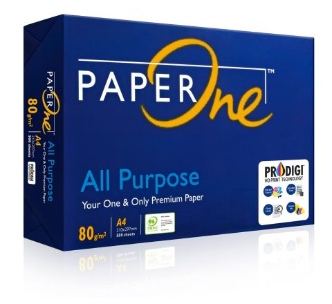 PAPERONE ALL PURPOSE, PRINTING / PHOTO COPY PAPER, A4 80GSM, WHITE, 500 PAGES IN A REAM
