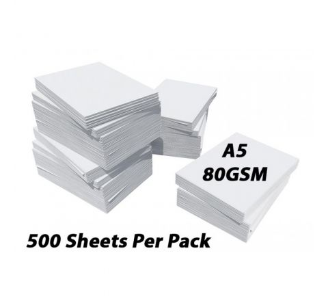 PRINTING / PHOTOCOPY PAPER, A5 80GSM, WHITE, 500 PAGES IN A REAM