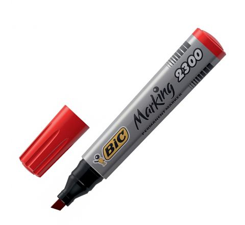 BiC PERMANENT MARKER 2300 CHISEL TIP - RED