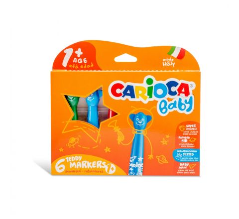 CARIOCA BABY TEDDY MARKER FOR 1 plus YEARS 6 PIECES IN A PACK