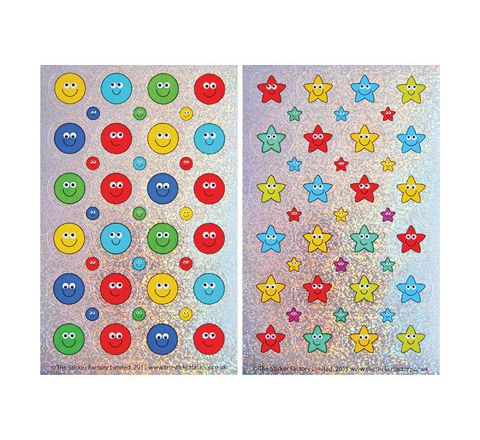28/10mm Sparkling & Foil Star and Smile Stickers