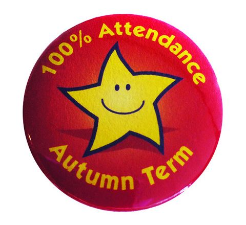 100% Attendance Badges Autumn Term Pack 20