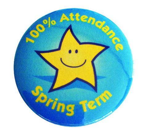 100% Attendance Badges Spring Term Pack 20