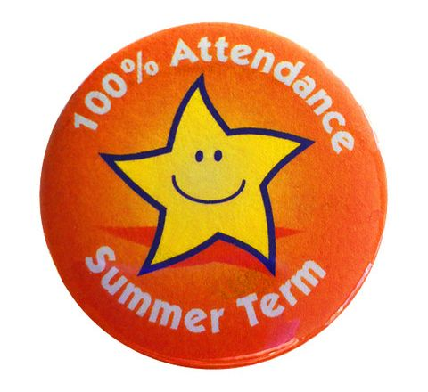 100% Attendance Badges Summer Term Pack 20