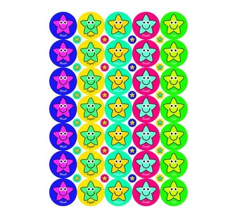 38/10mm Exclamation Star Stickers Pack 590