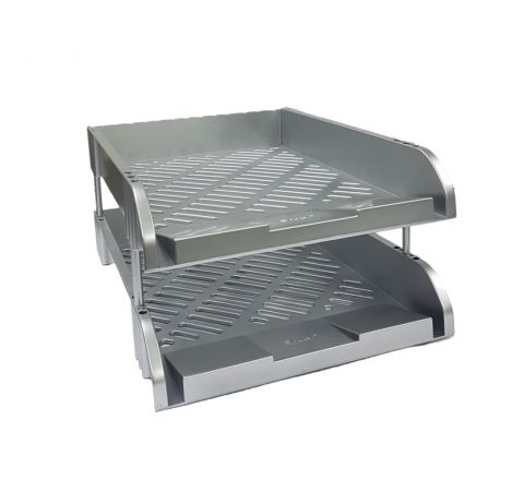 PERFEKT N812Y DOCUMENT TRAY A4 SIZE 2 TIER SILVER COVER