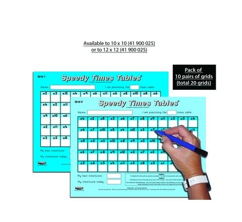 Speedy Times Table 10 x 10 Pack 10