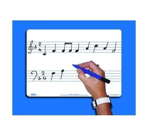 A4 Music Whiteboards - 2 STAVE, Pack 10