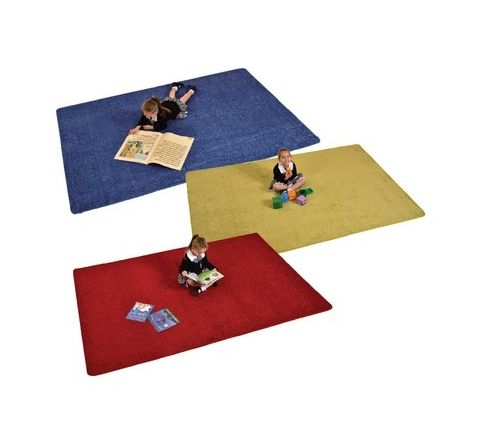 Rectangle Colour Rugs Blue