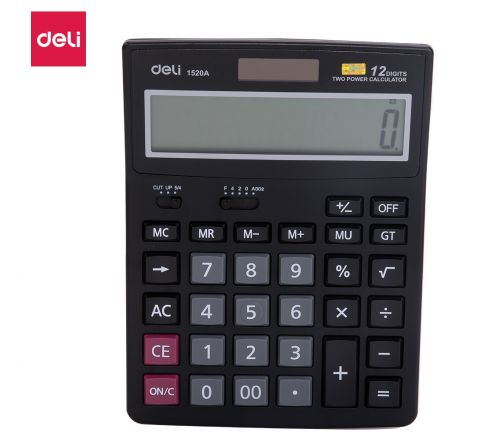 E1520A-12DIGIT CALC, DUALPOWER  (BLACK)