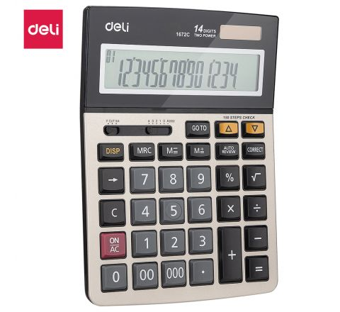 E1672C-DELI CALCULATOR 14 DIGI TS METAL
