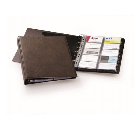 DURABLE 2384-11 VISIFIX BUSINESS CARD ORGANIZER, A4 SIZE, 400 CARDS, BROWN COLOUR