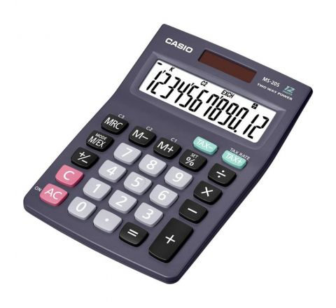 CASIO MS-20S MINI DESK CALCULATOR, 12 DIGITS DISPLAY