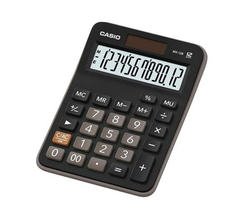 CASIO MZ-12S/MX-12B MINI DESK CALCULATOR, 12 DIGITS DISPLAY