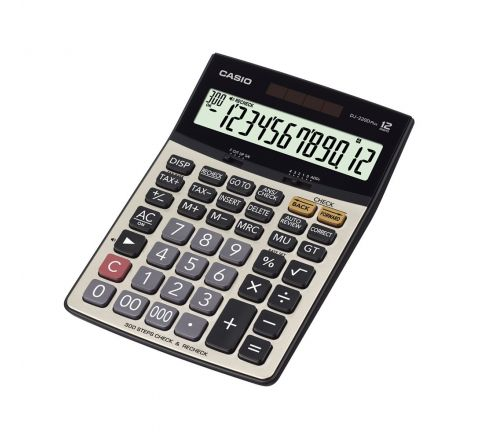 CASIO DJ-220D, 12 DIGITS CHECK CALCULATOR, SILVER COLOUR