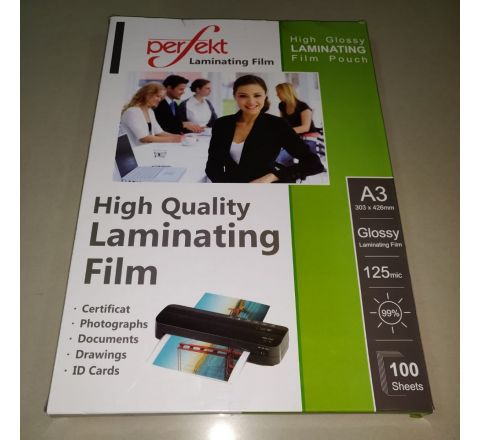 LAMINATING POUCH, A3 SIZE, 125MICRON, 100 PCS IN A PACKET