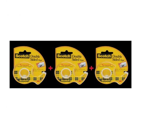 3M 136 DOUBLE SIDE TAPE WITH DISPENSER, 3 PIECES IN A PACK