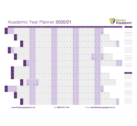 Academic Year Planner 2020/21 594 x 841mm Pk of 2 [93210]
