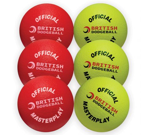 Official British Dodgeball Masterplay Foam Dodgeball 150Mm,  Mixed Colours, Set Of 6
