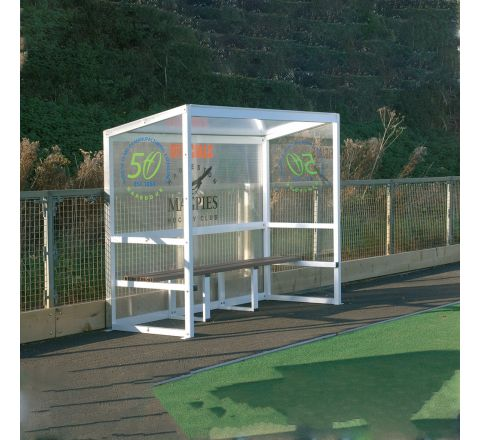 Aluminium Team Shelter  2.5M Fixed, 5 Person, Red Seats