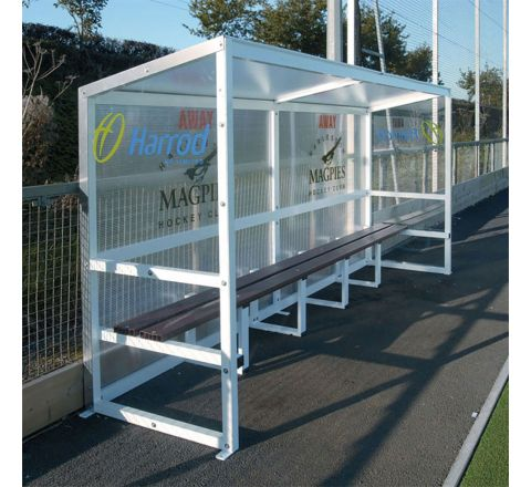 Aluminium Team Shelter  4M Fixed, 8 Person, Red Seats