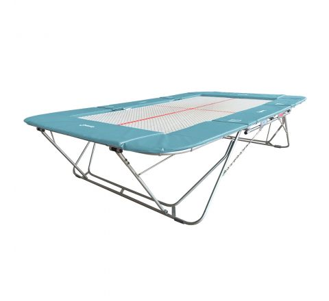 77a trampoline with 13mm web bed and fixed height rollerstands, Ice-Blue Color