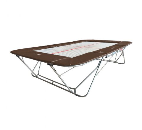 77a trampoline with 13mm web bed and lift/lower rollerstands, Brown Color