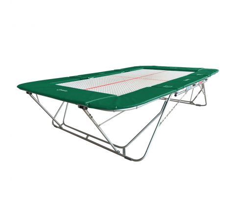 77a trampoline with 13mm web bed and lift/lower rollerstands, Green Color
